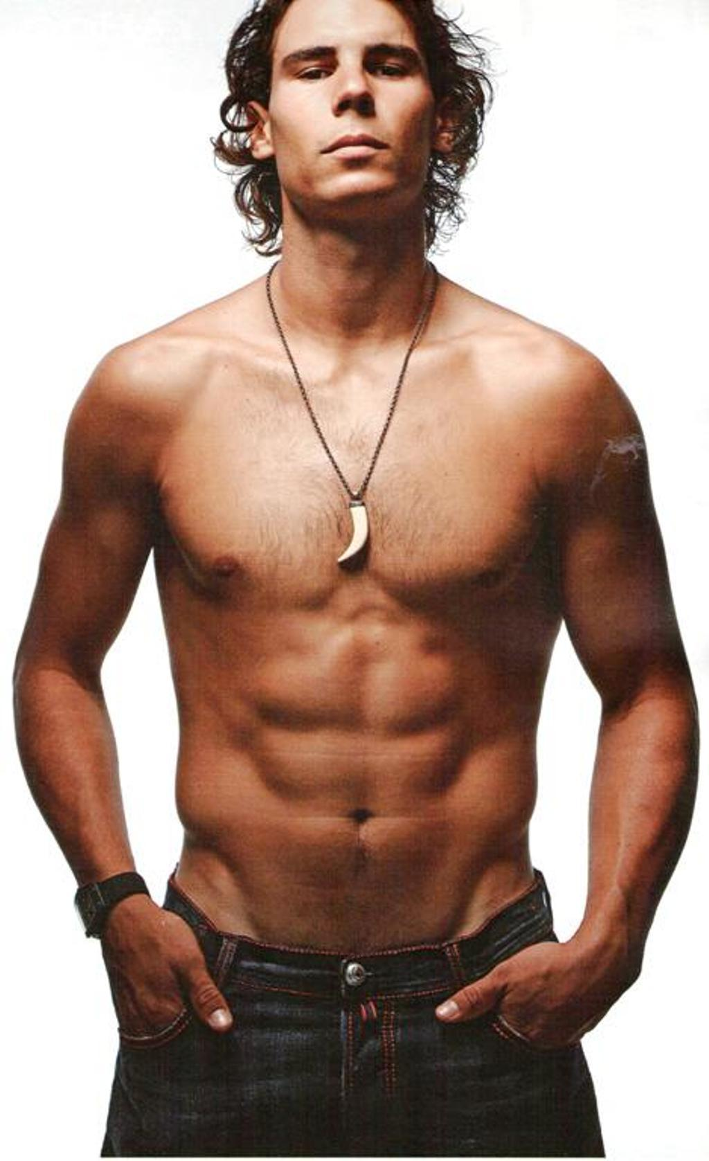 Nadal, making a matriarchal bargain by taking his shirt off ...