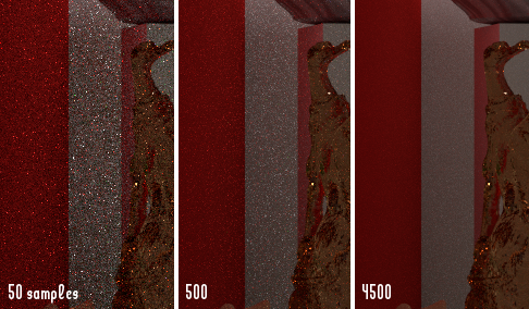 "Three close-ups of a scene, showing a back corner that's especially prone to ""fireflies"" even though it's nowhere near a specular source. The path tracer was used, with no tweaking other than sample count."