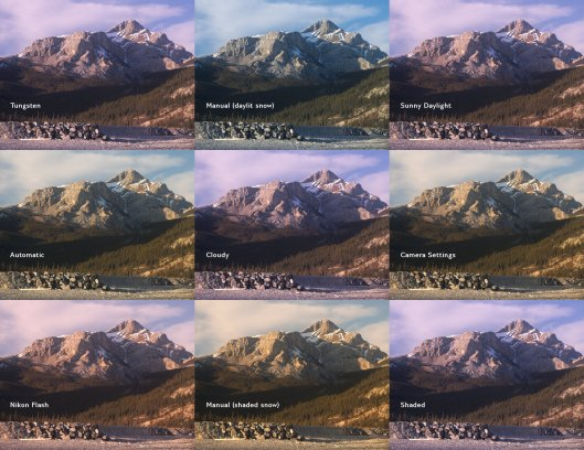 A comparison of multiple colour balance settings for a mountain scene