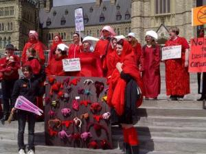 The Radical Handmaids, at a protest in front of Parliament