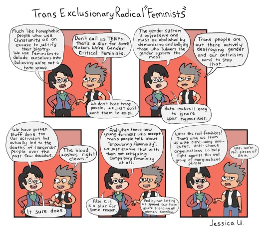 TERF ideology, skewered. Comic by Manic Pixie Nightmare Girls.