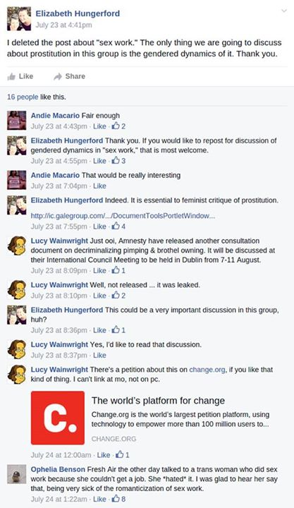A screencap of Benson hanging out with TERFs on Facebook.
