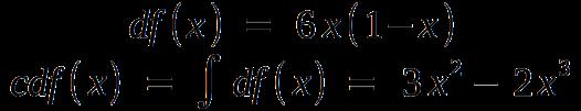 The finalized quadratic distnribution function, df(x) = 6x(1-x), with cdf(x) = 3x^2 - 2x^3