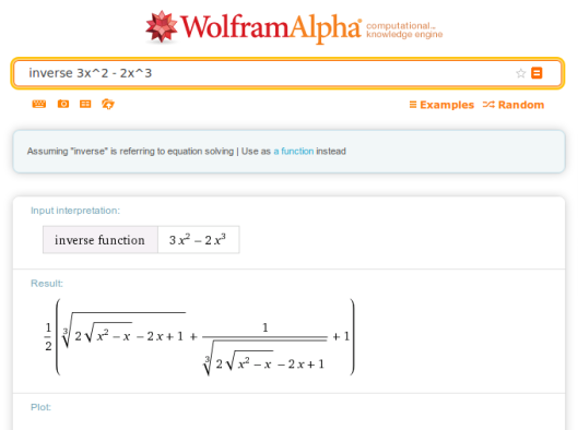 Wolfram Alpha's proposed inverse CDF for 6x(1-x). It's a bit complex.