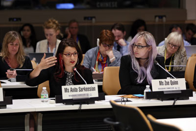 Anita Sarkeesian and Zoe Quinn speak at the launch of the UN's report on online harassment. Photo: UN Women/Ryan Brown
