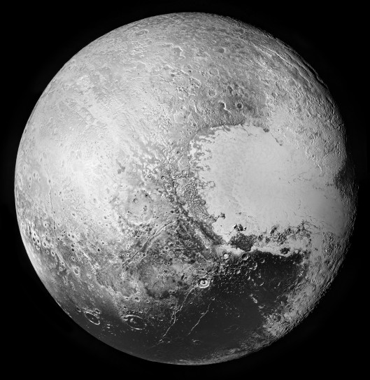 Pluto, as seen by New Horizons' LORRI imager between 2015-07-14 08:14:48 and 08:28:25 UTC. Merged by Hugin, touched-up with GIMP. Raw images via http://pluto.jhuapl.edu/soc/Pluto-Encounter/ . CC-BY-SA-4.0