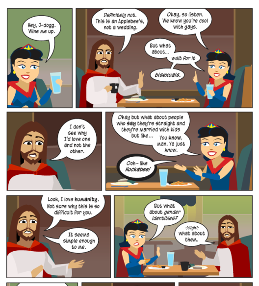 An excerpt from a Wonderella comic about Christianity and sex. Source: http://nonadventures.com/2015/10/24/the-blast-supper/