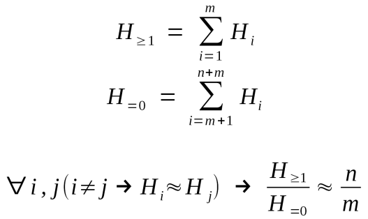 When comparing two hypotheses which are composed of sub-hypotheses, if every sub-hypothesis has about the same likelihood then the likelihood ratio of the two parent hypotheses is about the same as the count of sub-hypotheses in the first divided by the count in the second.