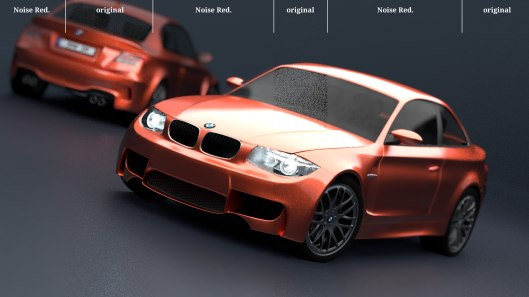 The results of the noise reduction filter on the BMW scene. Note the overly sharp edges in some areas, and the bizarre blurring on the headlights.