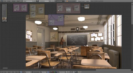 The classroom scene, with the compositor nodes laid out.