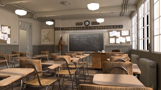 """Class room"", by Christophe Seux. Sample count deliberately reduced. Source: https://www.blender.org/download/demo-files/"