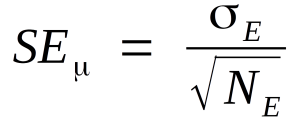 The standard error of a Gaussian distribution's mean is equal to the standard deviation of the observed values divided by the square root of the number of observations.