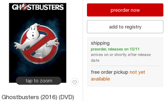 Ghostbusters 2016 (DVD): preorder, releases on 10/11
