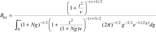 The formula for converting degrees of freedom and t-scores to a Bayes Factor, from Rouder et. al (2009)