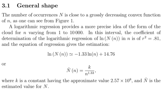 "Some estimates for how often a number occurs. Gauvrit, Nicolas, Jean-Paul Delahaye, and Hector Zenil. ""Sloane's Gap. Mathematical and Social Factors Explain the Distribution of Numbers in the OEIS."" arXiv Preprint arXiv:1101.4470, 2011. http://arxiv.org/abs/1101.4470."