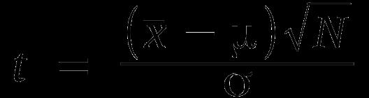 t = (xbar - u) sqrt(N) / s
