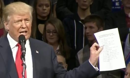 Trump holding the quote from that email.